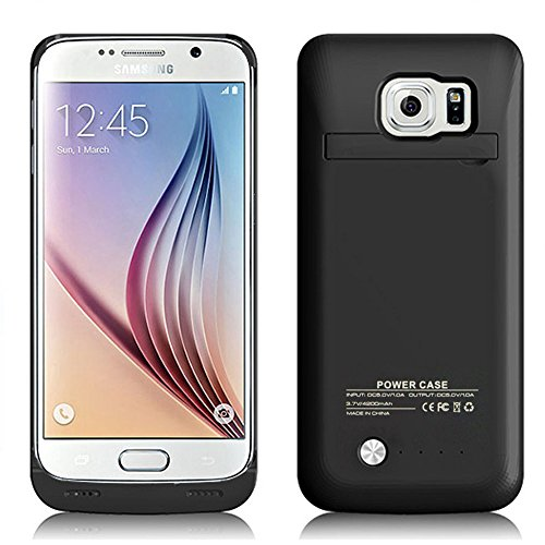 Galaxy S6 Battery Case, very trim handheld Rechargeable External Battery Backup energy Bank Charger predicament Cover For Samsung Galaxy S6 with the help of Kickstand (Black)