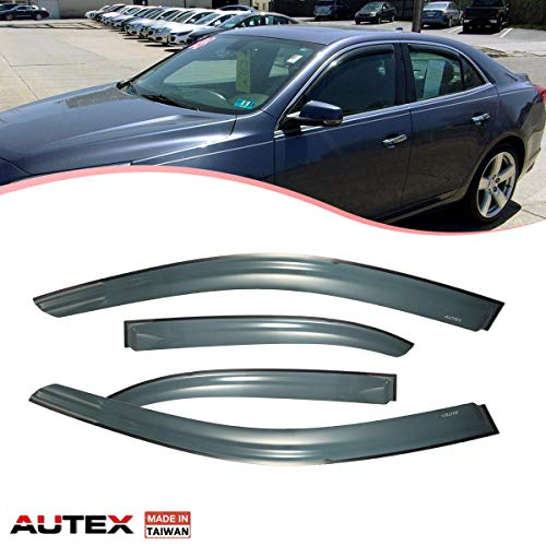 AUTEX Tape on Window Visor Compatible with Chevrolet Malibu 2013 2014 2015 Compatible with Chevrolet Malibu Limited 2016 Side Window Wind Deflector Sun Rain Guard