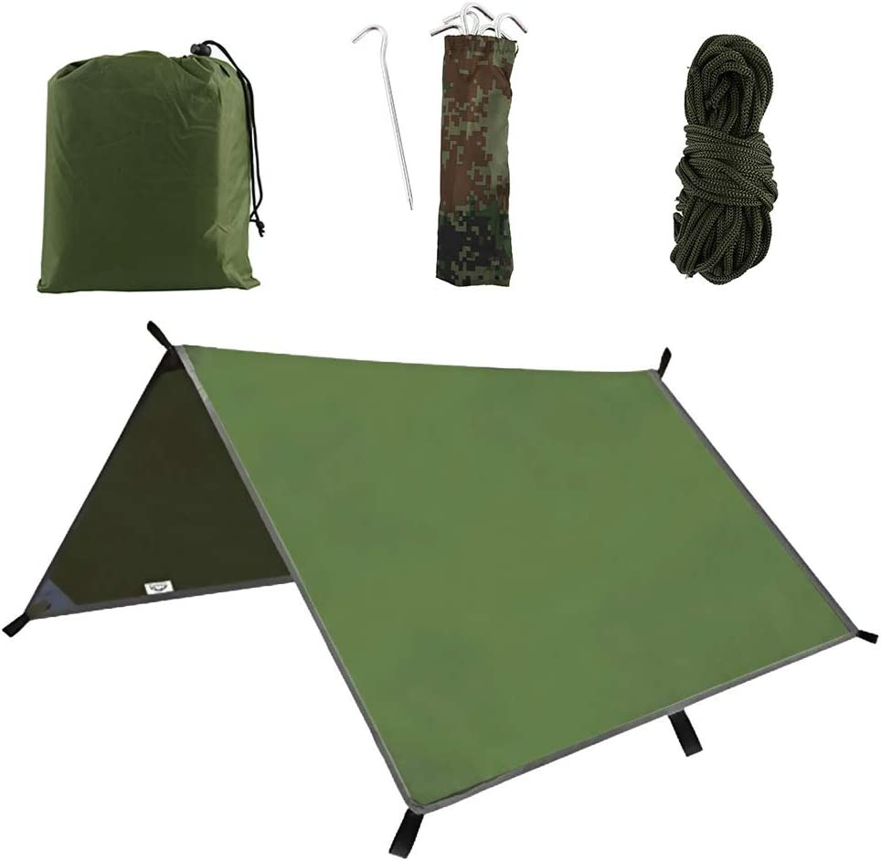 army green 3m x 3m Hammock Rain Fly Tent Tarp Waterproof Windproof Camping Shelter Portable Lightweight Sunshade Camping Outdoor Travel