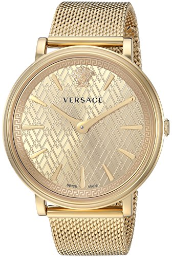 Versace Women's 'The Manifesto Edition' Quartz and Stainless-Steel-Plated Casual Watch, Color:Gold-Toned (Model: VBP060017)