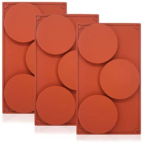 Moldes de silicona antiadherente, 3 unidades con 3 discos redondos grandes cada molde, para