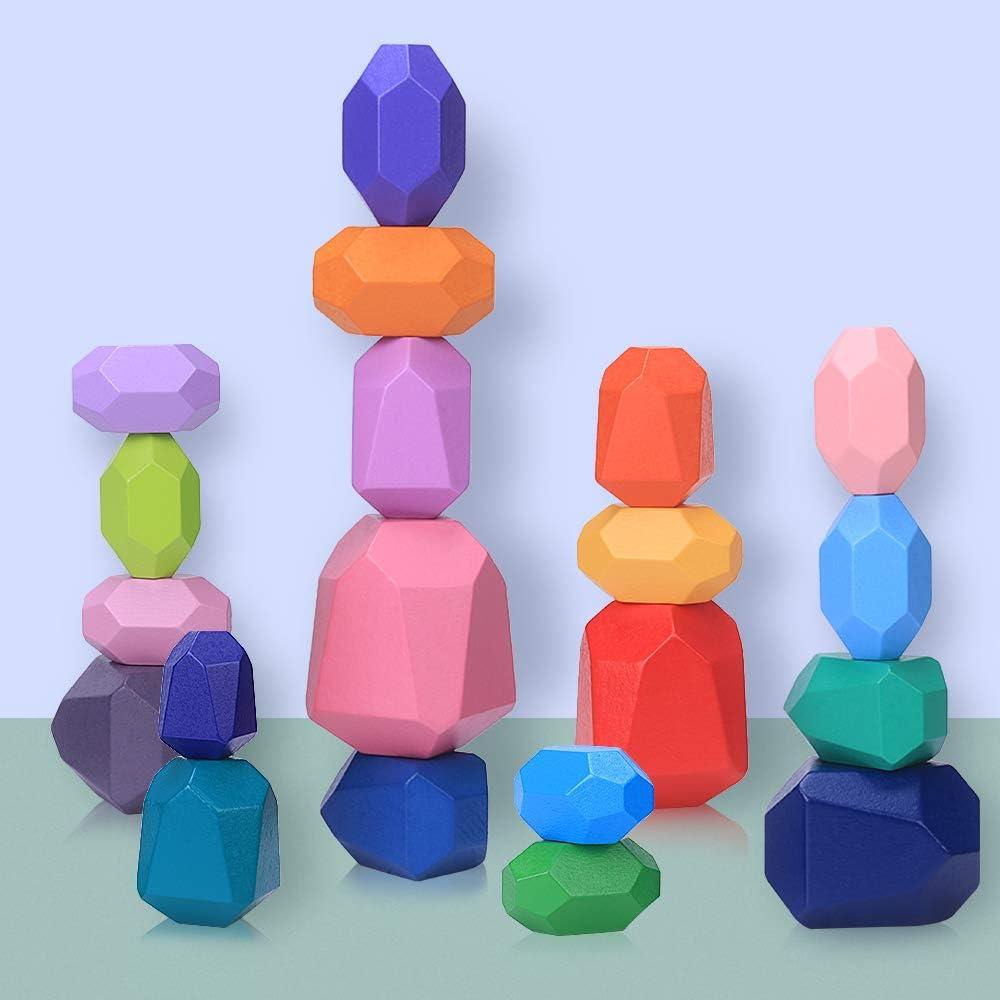Piedras de Equilibrio en Madera para Niños, 20 Piezas Juguetes de Apilamiento de Piedras de Colores, Bloques de Construcción Montessori para Niño Niña Juguete Educativo & Decoración del Hogar