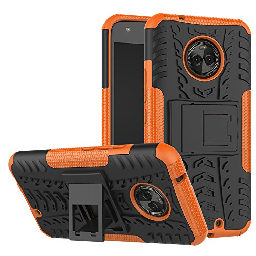 Moto X4 Case,Mustaner Dual Layer Shock-Absorption Armor Cover Full-body Protective Case with Kickstand Combo PC+TPU Back for Motorola Moto X4 2017 (Orange) (Kraken Replacement Tank)
