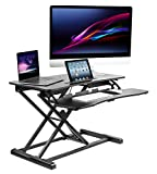 Elitech Sit to Stand Desk Gas Spring Riser Converter – Large 37.5  inches tabletop workstation fit dual monitors and one tablet. Height adjustable standing desk converter