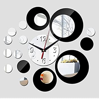 (Black) new wall clock modern design 3d clocks quartz watch plastic Living Room mirror Wall Sticker relogio de parede home decor