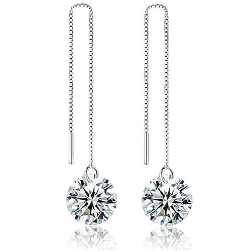 9a286c851 Amazon.com: Created Diamond Dangle Drop Earrings 925 Sterling Silver Jewelry  Long Chain Threader Wire Linked Earrings Anniversary Her Grandma Gifts  Teenage ...