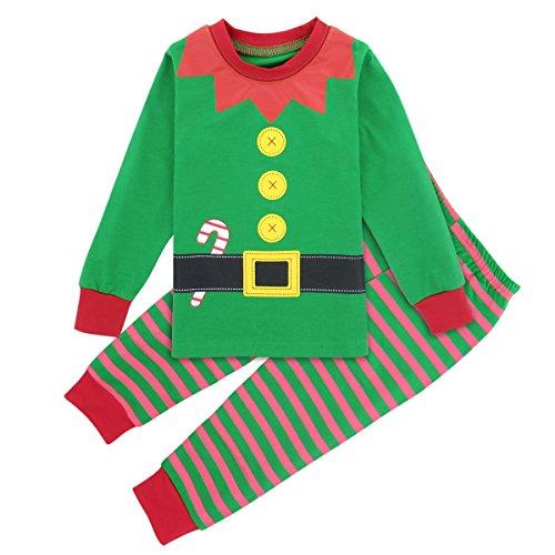 Mombebe Kids Boys Christmas Pajamas Set Green Elf Costume (Elf, 4T) -