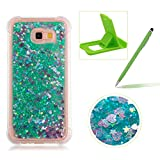 Liquid Case for Samsung Galaxy A7 2017 A720,Soft TPU Glitter Case for Samsung Galaxy A7 2017 A720,Herzzer Luxury 3D Sequins Creative Green Love Hearts Design Floating Quicksand Sparkly Crystal Anti Scratch Drop Resistant Clear Rubber Back Case