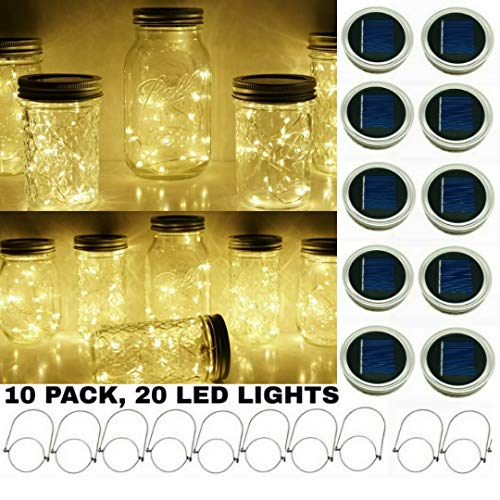 Lighting Hanger - Upgraded Solar Mason Jar String Light Lids, 10 Pack 20 LED Fairy Firefly String Light Inserts with 10 Hangers Starry Lighting, Waterproof and Rust Resist for Patio Lawn Garden Wedding (Warm White)