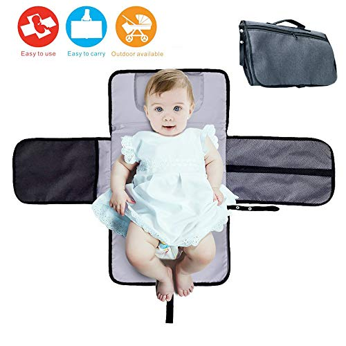 Baby Diaper Changing Pad Clutch, Portable Changing Pad Baby Changing Mat Travel with Pockets – Waterproof & Foldable Changing Station for Newborn Baby Infant