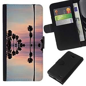 KLONGSHOP // Tirón de la caja Cartera de cuero con ranuras para tarjetas - Reflexión del cielo árboles agua rosado - LG OPTIMUS L90 //
