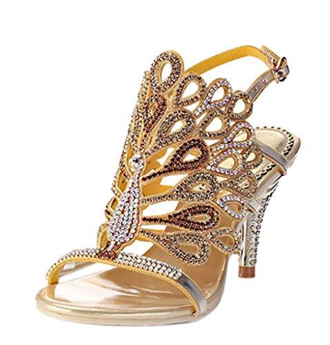 Women's Sparkle Crystal Cutouts Stiletto Ankle Strap Slingback High Heels Party Dress Sandals 02#gold pu 0zwq3Ckuau