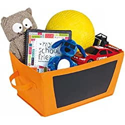 Organizational Storage Bin With Chalkboard Side - Bright and Fun Orange Foldable Cloth Fabric Tote - Craft Room, Decorations, Toy Storage, Children's Room, Classroom