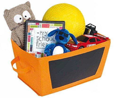Halloween Storage Bin With Chalkboard Side - Orange Foldable Cloth Fabric Tote - Halloween Decorations, Toy Storage, Kids (Bins Toy Bin Halloween)