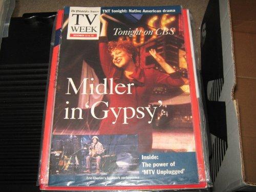 TV Week Magazine Bette Midler (Midler in 'Gypsy' , Eric Clapton's Landmark Performances ,, December 12-16 , (Tv Week Magazine)