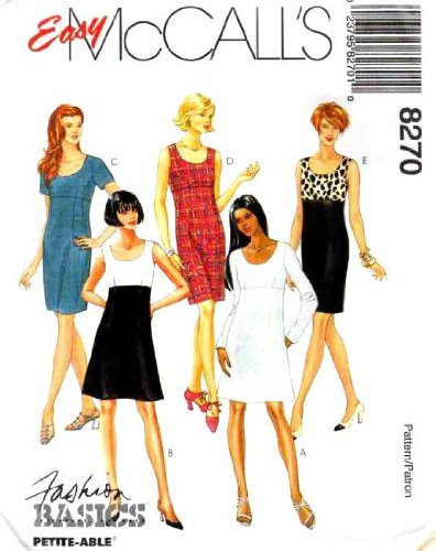 McCall's Sewing Pattern 8270 Misses' Empire Waist Dress, AX (Size 4 6 8) (Dress Waist Pattern)