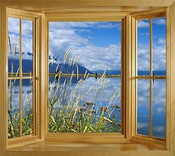 Blick aus dem fenster bilder  Art Fever Fenster Wandbild Foto Tapete selbstklebend Blick Lake ...