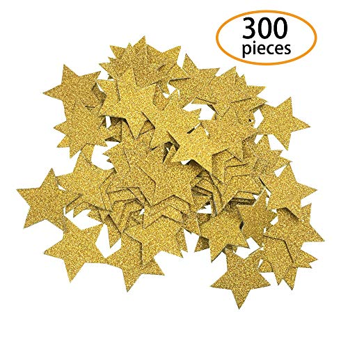 SBYURE 300 Pieces Gold Star Paper Confetti,Wedding Party Decor and Table Decor for Wedding,Birthday,Crafts,Party Decoration,1.2 inch in -