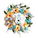Collections Etc Nautical Lighthouse & Coastal Seashell Summer Door Wreath with LED Lights