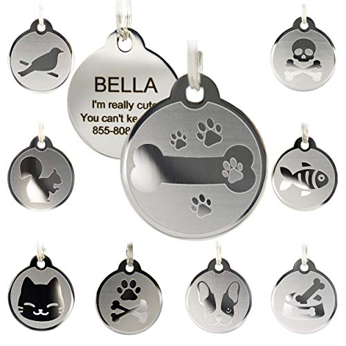 Custom Engraved Stainless Steel Pet ID Tags - Engraved Personalized Identification Durable & Long Lasting Dog Tags, Cat Tags