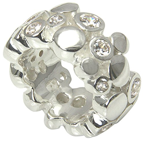 Skielka Designschmuck massiver Ring hochwertige Goldschmiedearbeit aus Deutschland mit Zirkonia Steinen (Sterling Silber 925) außergewöhnlicher Schwerer Silberring - Zirkonia Ring - Damenring