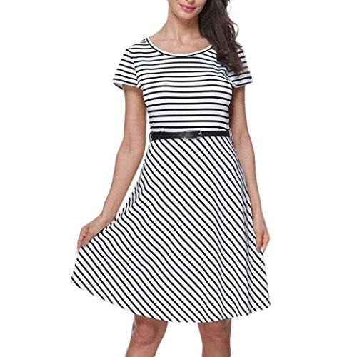 Mini Dresses, FORUU Womens Casual O Neck Empire Short Sleeve Belt Stripe Loose