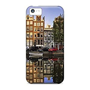 High Grade ConnieJCole Flexible Tpu Case For Iphone 5c - Reflections In A Canal In Amsterdam