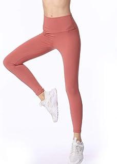ZMJY Medias Pantalones de Yoga, Leggings para Mujeres Que Sudan y Sudan, Pantalones de Gimnasio de Cintura Alta, para Entrenar, Caminar, Bailar, Entrenar, Correr y Correr,Brickred,L