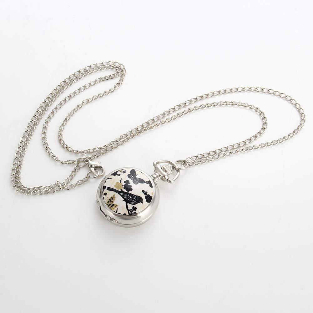 Farfalla Signora tasche/ /Orologio al Quarzo Sweater Chain Necklace Pendant Clock Women Gifts Modo lzndeal lettura di vino/ /lega di uccelli e fiori