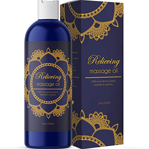 Sensual Massage Oil for Massage Therapy - Relaxing Massage Oil for Couples with Lavender Essential Oils - Body Massage Oil with Rosemary Essential Oil Jojoba Oil and Sweet Almond Oil and for Skin Care