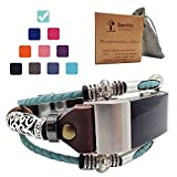 Smatiful Charge 2 Bands with Paper Case and Carrying Bag for Boys Girls, Adjustable Replacement Watches Band with Metal Clasp for Fitbit Brand Charge 2 HR Fitness, Green Mint (Teal)
