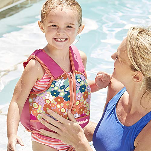 SwimSchool Swim Trainer Vest, Adjustable Safety Strap, Easy On and Off, Medium/Large, 33 lbs. to 55 lbs., Pink