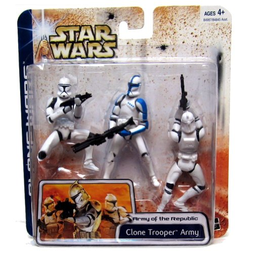 Army Clone (Star Wars: Clone War Deluxe Clone Trooper Army (Blue Highlights) Action Figure Multi-Pack)