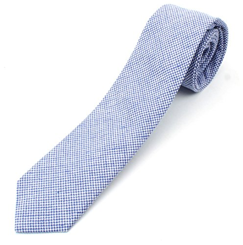 Men's Linen Skinny Necktie Tie Small Star Pattern Solid Color With White - Royal Blue