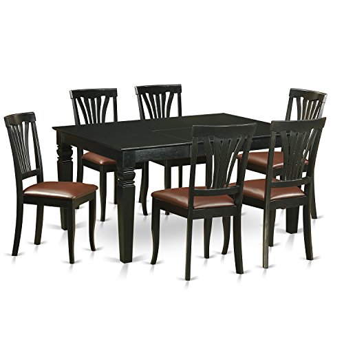 East West Furniture WEAV7-BLK-LC 7 Piece Table and 6 Kitchen Chairs Set