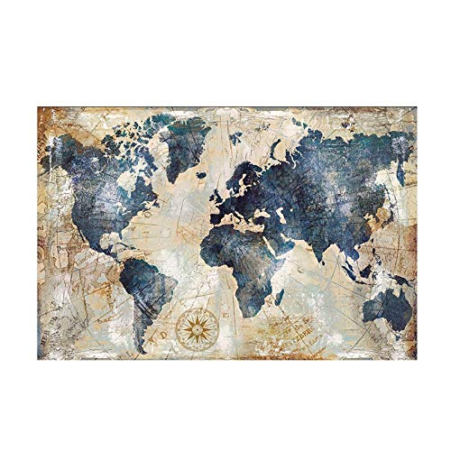 El tamano grande Mapa del Mundo acuarela de la vendimia Pintura Poster del petroleo pintura y la pintura imprime cuadro de la pared Sala lona de la decoracion (Size (Inch) 80x120cm)