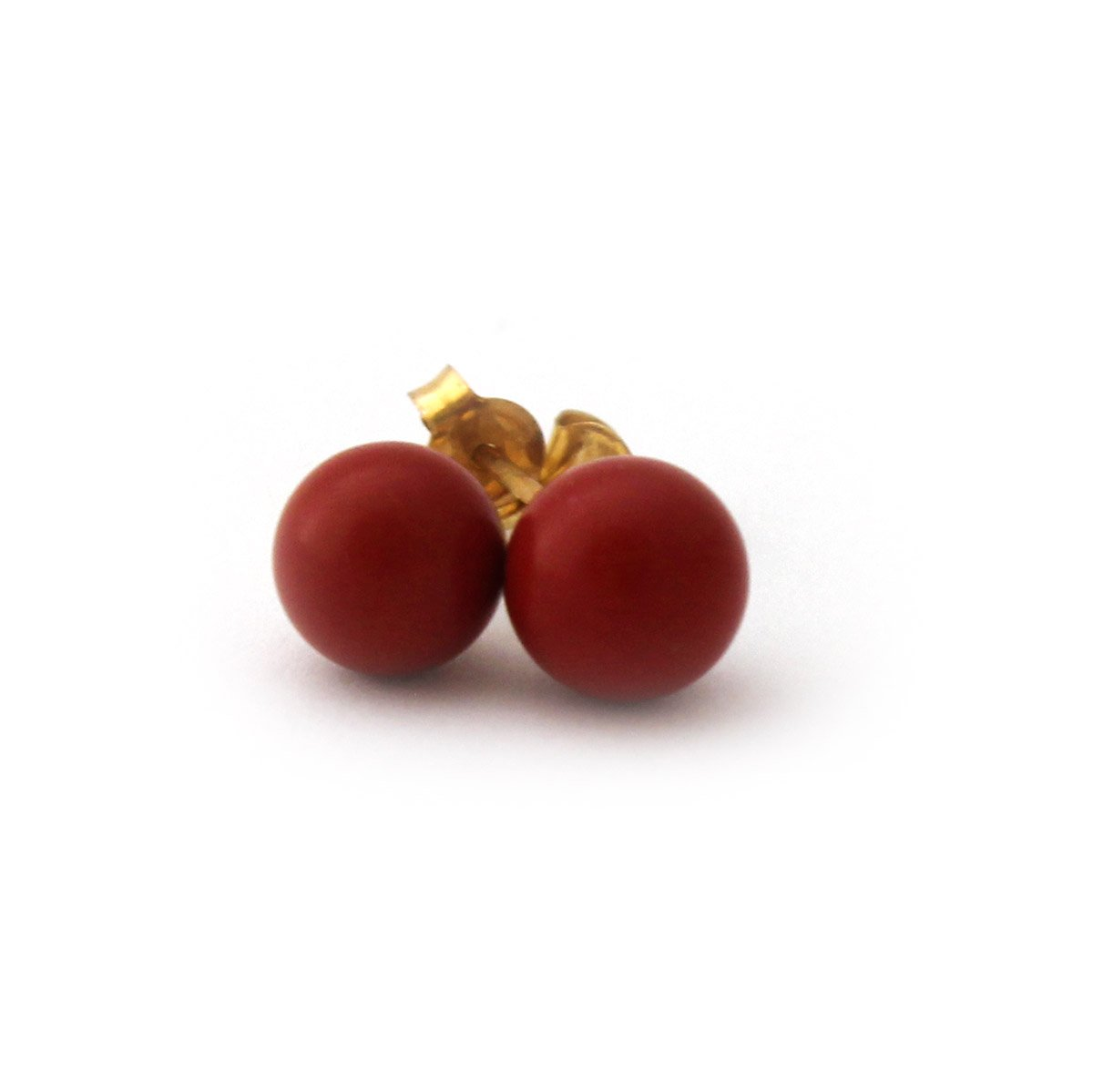 14k Yellow Gold Dark Red Simulated Coral Ball Stud Earrings - 4mm