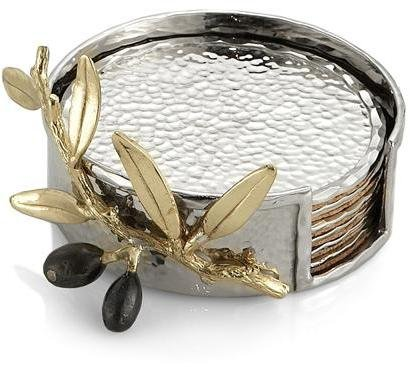 Michael Aram Olive Branch Drink Coaster Set, Gold