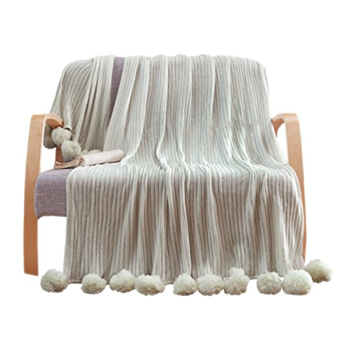 "LIFEREVO 100% Cotton Hypoallergenic Striped Cable Knitted Throw Blanket Pompoms Fringe Solid - Grey / 59""x79"""