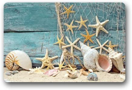 Seashell Conch Starfish Doormat Fishing Nets Beach Ocean Decor Indoor Front Door Bathroom Mats 18 x 30