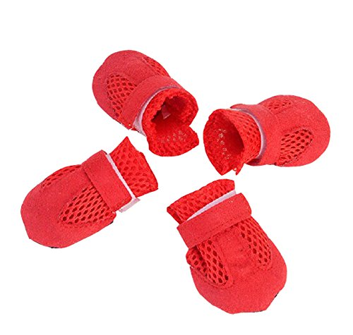 Fashional Breathable Mesh Dog Boot Pet Casual Shoes, Red