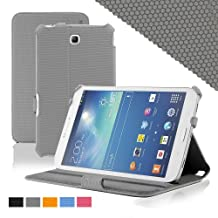 KHOMO ® Slim Folio Cover Case Grey With Hand Strap for Samsung Galaxy Tab 3 7.0'' Tablet (GT-P3200 / 3210)