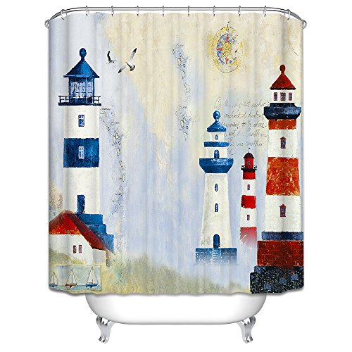 Nautical Design Mildew Resistant Lighthouse Shower