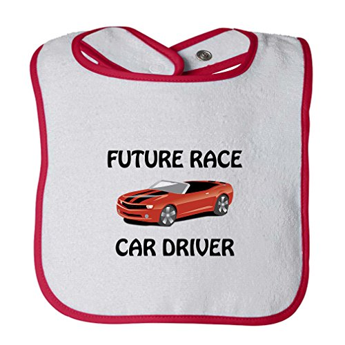 (Future Race Car Driver Infant Contrast Trim Terry Bib White/Red)
