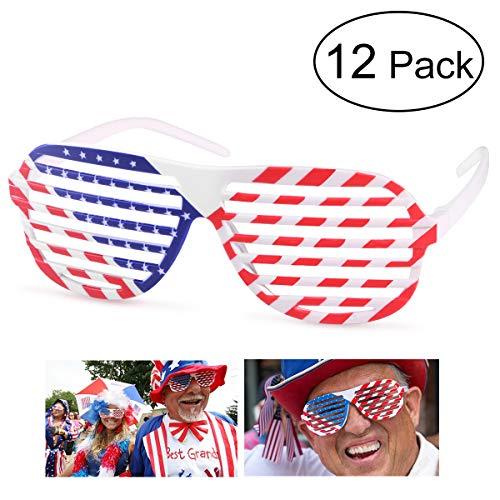 BESTOYARD Shutter Shading Glasses American Flag USA Patriotic Glasses Shades Sunglasses Party Props Decoration 12pcs