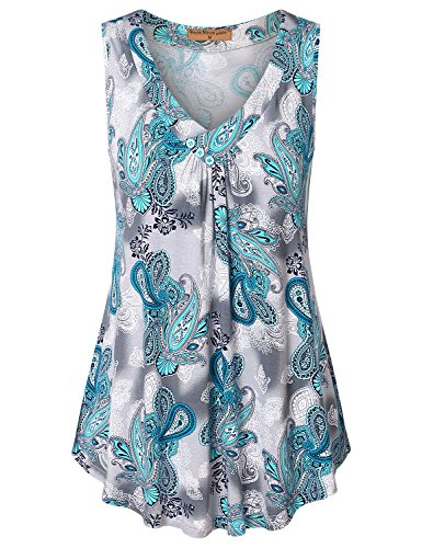 Meow Meow Lace MML Womens Sleeveless V Neck Shirts Pleated Front Flowy Tank Print Tops Blue Grey M