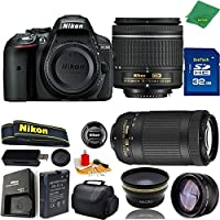 Great Value Bundle for D5300 DSLR – 18-55mm AF-P + 70-300mm AF-P + 32GB Memory + Wide Angle + Telephoto Lens + Case