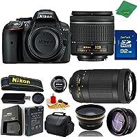 Great Value Bundle for D5300 DSLR – 18-55mm AF-P + 70-300mm AF-P + 32GB Memory + Wide Angle + Telephoto Lens + Case