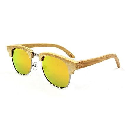 Aihifly Gafas de Sol polarizadas Gafas de Sol de bambú Hecho a Mano Semi-sin