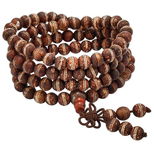 - SUNYIK Brown/Tan Striped Fire Agate 108 Tibetan Buddhist Mala Bracelet/Necklace